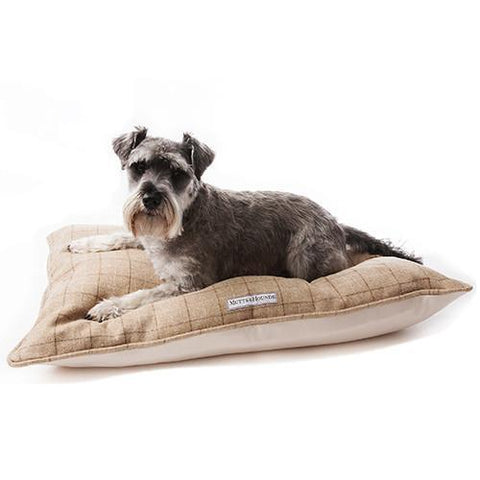 Luxury Oatmeal Tweed Pillow Bed  - Mutts and Hounds