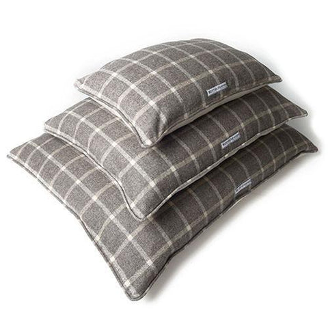Luxury Slate Tweed Pillow Dog Bed  - Mutts and Hounds