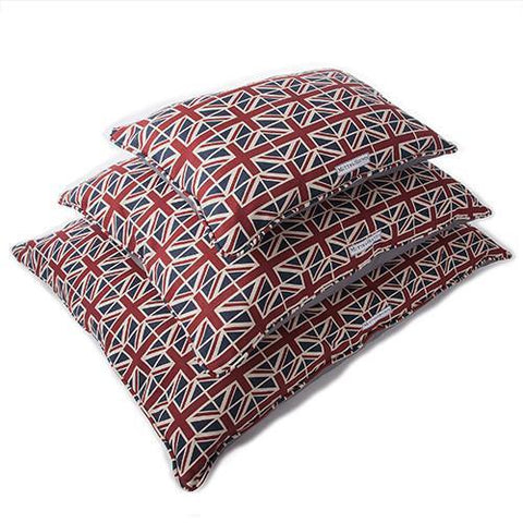Luxury Union Jack Linen Pillow Dog Bed  - Mutts and Hounds