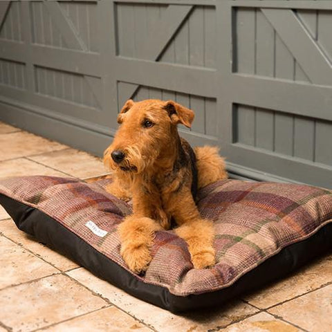 Luxury Grape Check Tweed Pillow Bed  - Mutts and Hounds