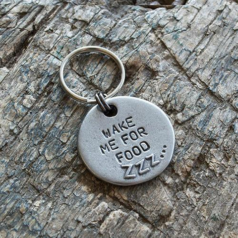 "Luxury ""Wake Me For Food"" Slogan Dog Tag  - Mutts and Hounds"