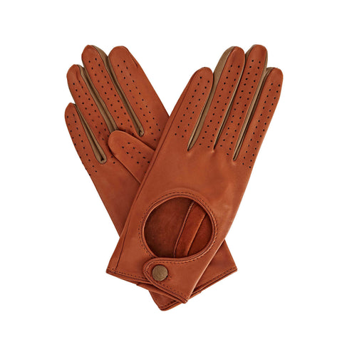 Bega  Women's Leather Driving Gloves in Tan Brown