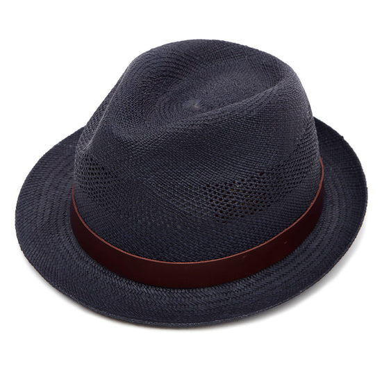 2495e81c519 Christys  London Carnaby Trilby Panama Hat - Navy Perforated
