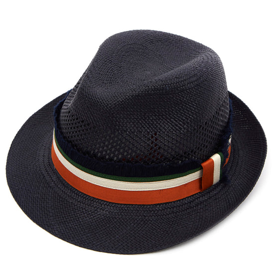 00932c97736a6 Christys  London Hoxton Snap Brim Panama Hat - Navy with Stripe Fringe Band