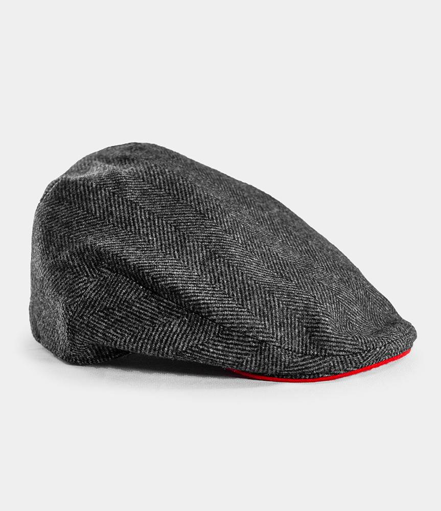 Always Wear Red Herringbone BLOOD Flat Cap – Beyond Bespoke b92e045b9d6