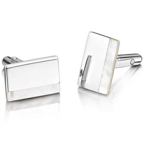 Engravable Sterling Silver Rectangle Cufflinks - Inlaid Mother Of Pearl