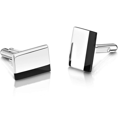 Engravable Sterling Silver Rectangle Cufflinks - Inlaid Onyx