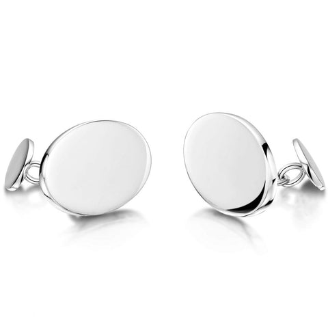 Engravable Sterling Silver Oval Chain Cufflinks