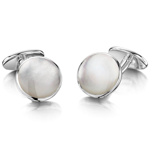 Engravable Sterling Silver Mother of Pearl Cufflinks