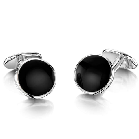 Engravable Sterling Silver Onyx Cufflinks