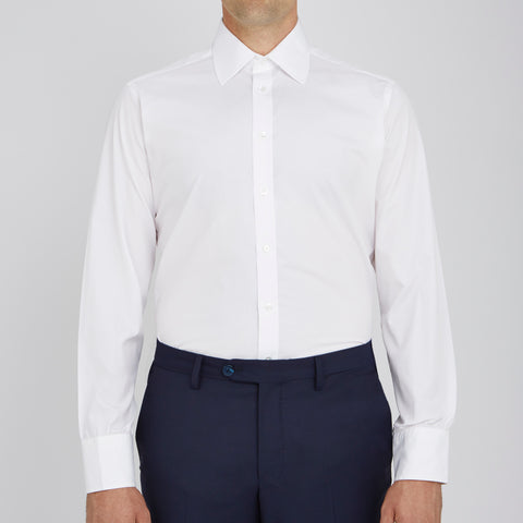 Plain White Cotton Shirt with Classic T&A Collar and Button Cuffs