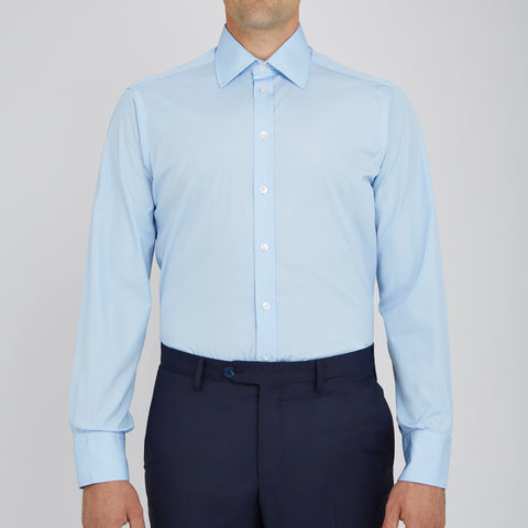 Light Blue Cotton Shirt with Classic T&A Collar and Button Cuffs