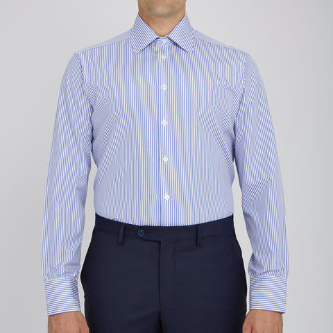 Blue Bengal Stripe Cotton Shirt with Classic T&A Collar and Button Cuffs