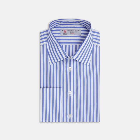 Mid Blue Candy Stripe Cotton Shirt with Classic T&A Collar and Double Cuffs