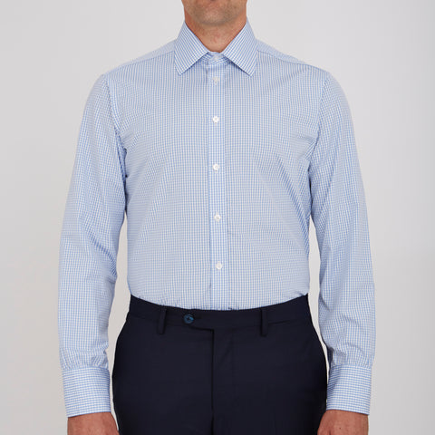 Light Blue Gingham Check Cotton Shirt with Classic T&A Collar and Button Cuffs