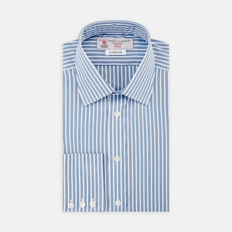 Two-Fold 120 Blue and White Stripe Cotton Shirt with Classic T&A Collar and Button Cuffs