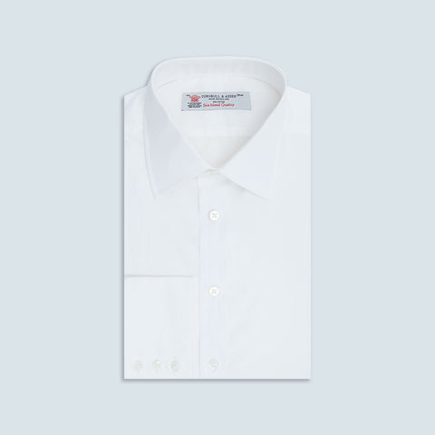 White Sea Island Quality Cotton Shirt with Classic T&A Collar and Button Cuffs