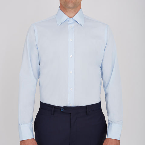 Light Blue Sea Island Quality Cotton Shirt with Classic T&A Collar and Button Cuffs