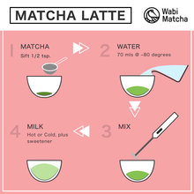 Load image into Gallery viewer, How to prepare a matcha latte by Wabi Matcha