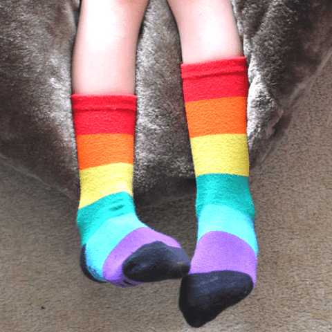 Moody Jude Rainbow Stripe Socks - Red Tops