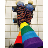 Moody Jude Rainbow Stripe Socks - Purple Tops