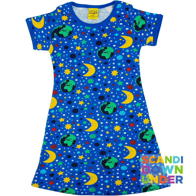 DUNS Sweden Mother Earth Kids A-Line Dress - Short Sleeve  - Blue