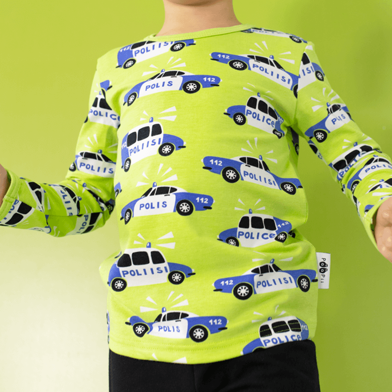 PaaPii Police Cars Top - Apple Green (bigger sizes)