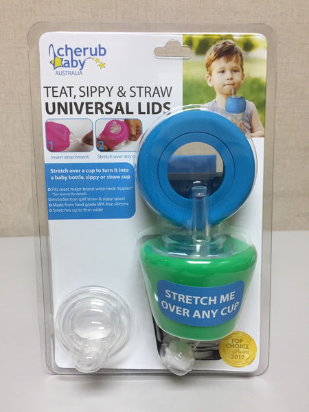 Cherub Baby Sippy, Straw and Teat Universal Silicone Stretch Lid Kit
