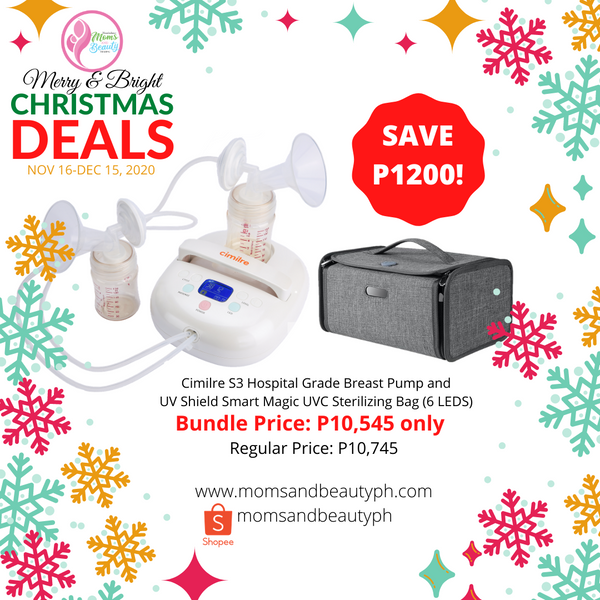 Cimilre S3 Hospital Grade Breast Pump and UV Smart Magic UVC Sterilizing Bag Bundle