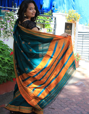 Green Kasauti Handloom Silk Cotton Saree