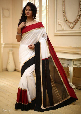 White Chanderi with designer golden striped pallu