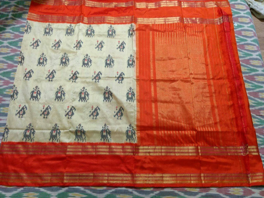 Offwhite Pure Ikkat Silk Saree