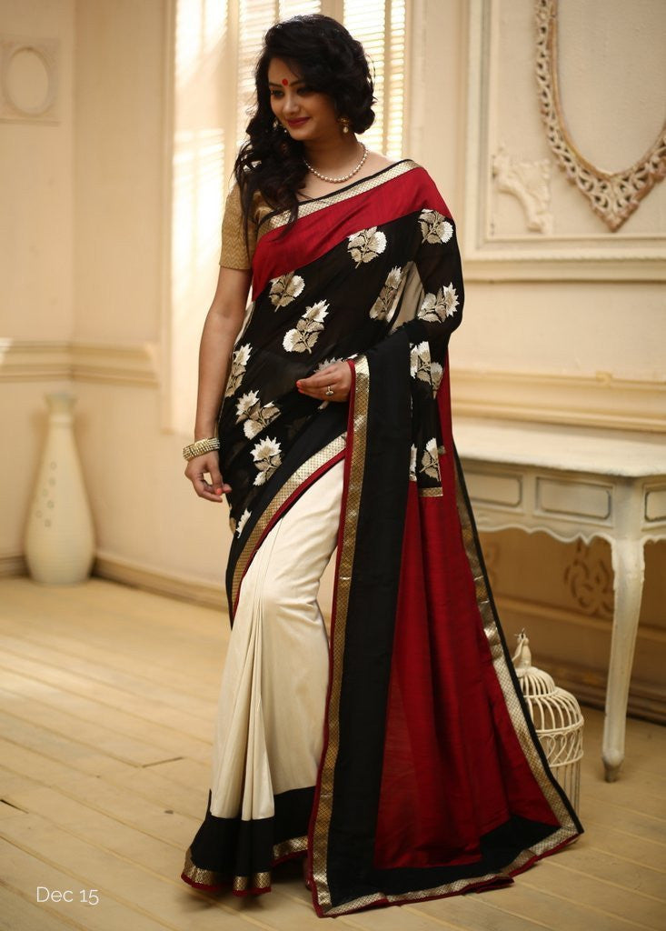 Embroidered black georgette with off white cotton silk & red slub silk pallu
