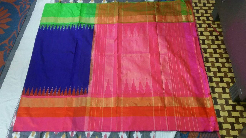 Royal Blue Pure Ikkat Silk Saree