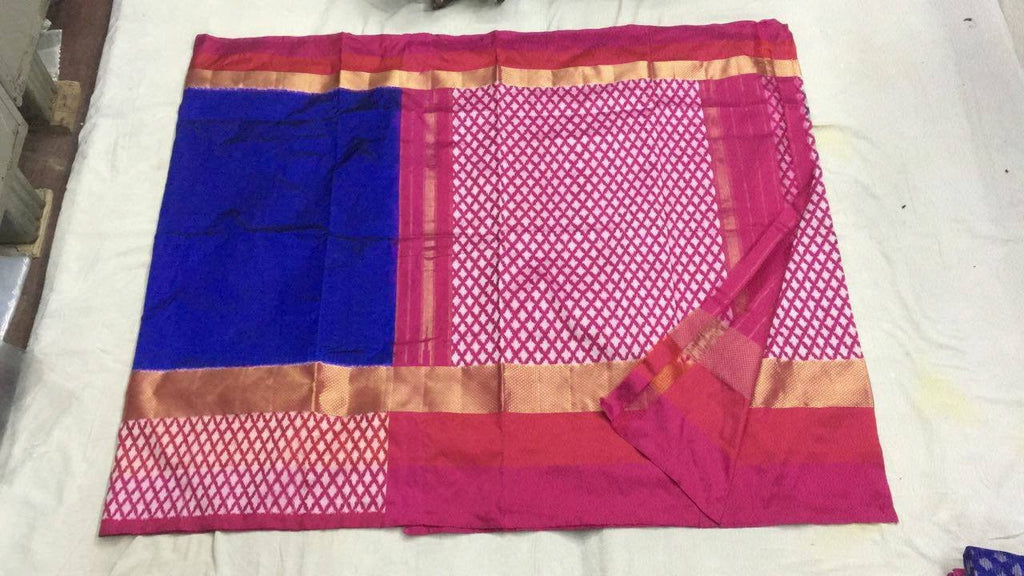 Rich Blue Pure Ikkat Silk Saree