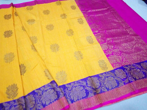 Yellow Banaras Dupion Silk Saree