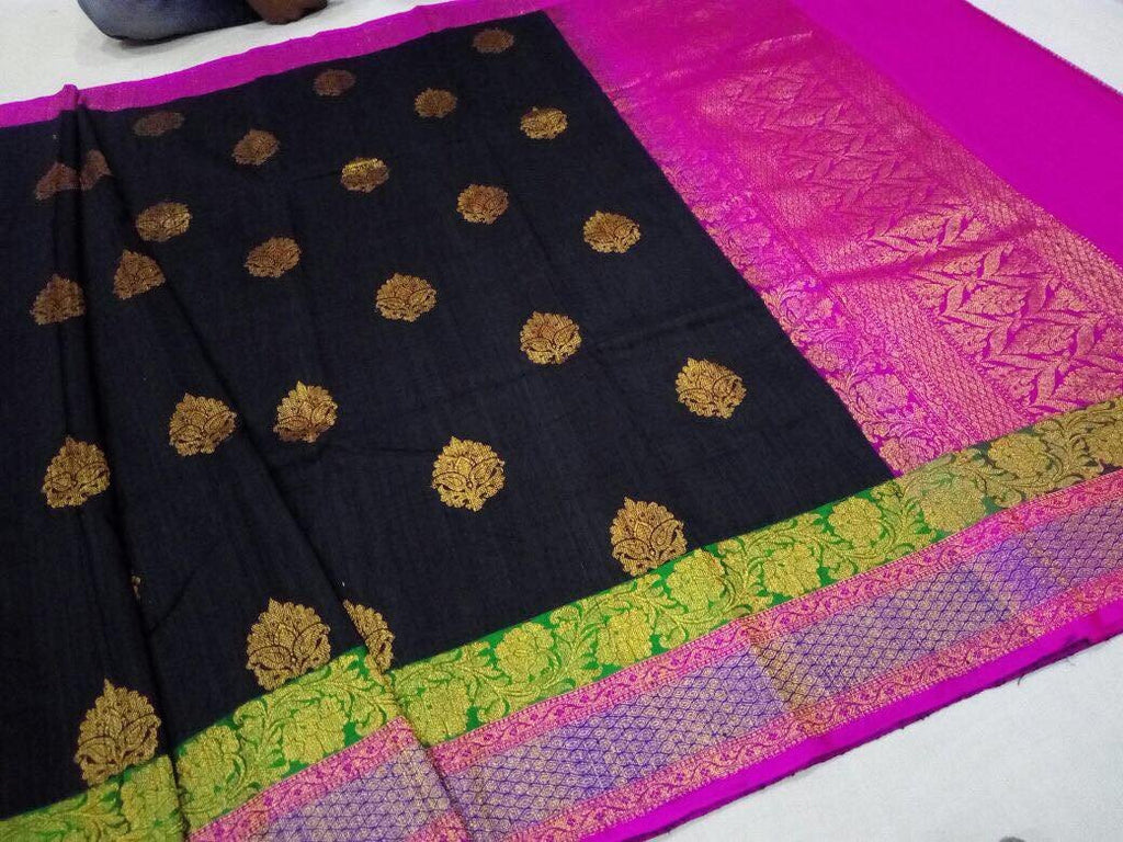 Black Banaras Dupion Silk Saree