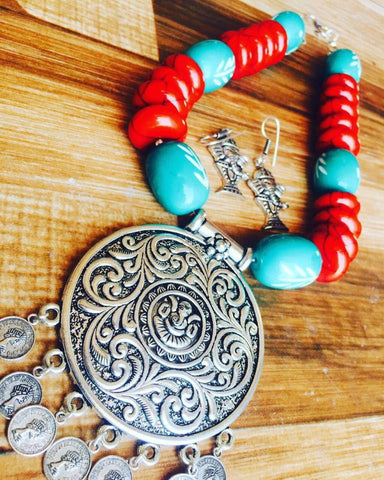 Red Beads Set with Ganesha pendent