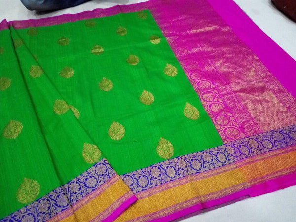 Leaf Green Banaras Dupion Silk Saree