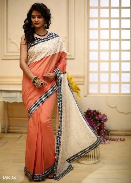 Peach chanderi with embroidered pallu