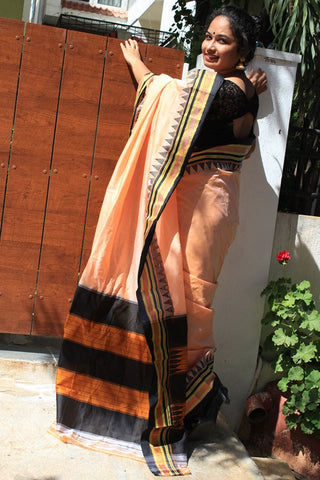 Peach Ilkal Handloom Silk Cotton Saree