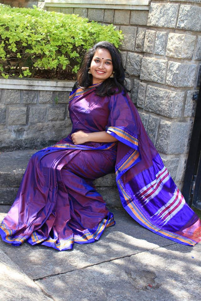 Purple Ilkal Handloom Silk Cotton Saree