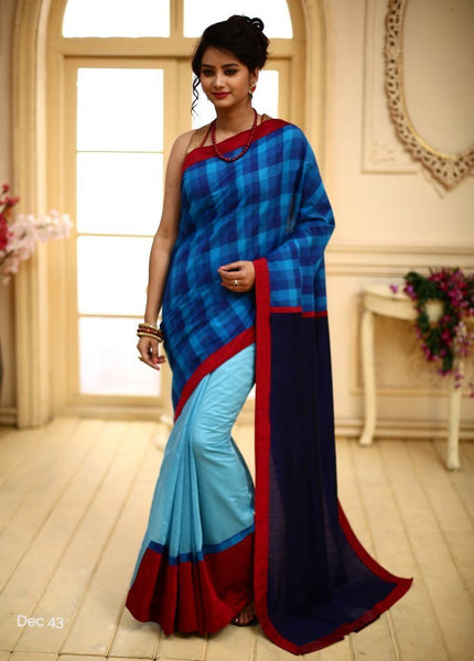 Handloom cotton checks with blue chanderi & Navy blue slub silk pallu