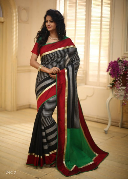 Black Striped cotton with Red slub silk & zari border