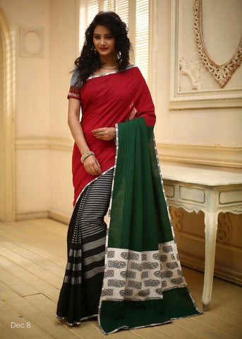 Red Handloom cotton with black striped cotton pleats & green handloom pallu