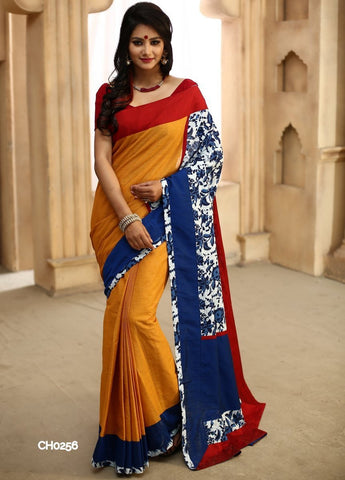 Yellow chanderi with indigo printed cotton pallu
