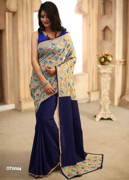 Cross stitch work on beige with royal blue cotton silk pleats and pallu