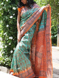 Sea Green Hand Embroidered Kantha Silk Saree