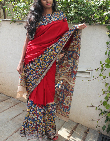 Red cotton kalamkari  saree