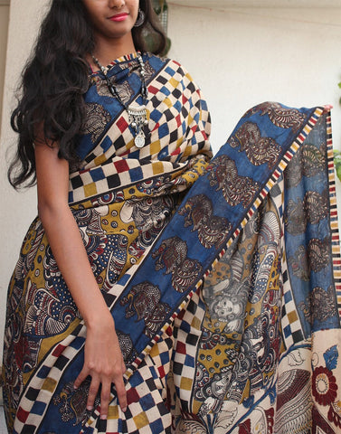 Printed soft silk kalamkari saree